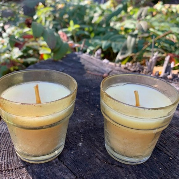 Vintage Two Small Yellow Candles